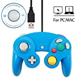 Mekela 5.8 feet Classic USB Wired NGC Controller Gamepad resembles Gamecube for Windows PC MAC (USB Blue) (Color: USB Blue)