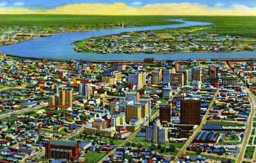 Aerial View, Downtown New Orleans Ca. 1950. An 8X10-Inch Enlargement Of A Vintage Postcard