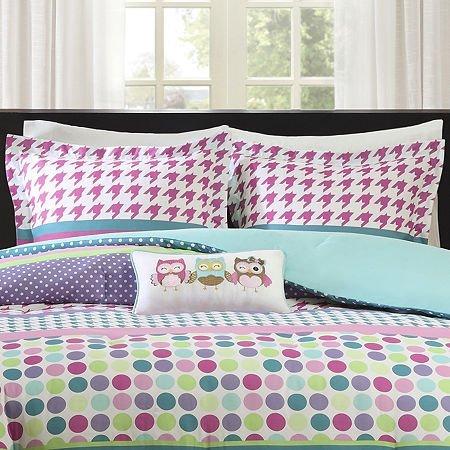 Girls Teen Kids Full Queen Comforter Bedding Set Owls