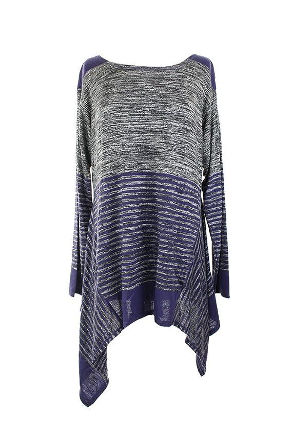 Studio M New Charcoal Purple Handkerchief Hem Striped Tunic L $78 DBFL