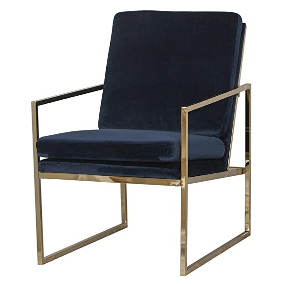 "Poltrona ""Bayonne rame placcato oro finitura telaio in acciaio e tessuto di velluto blu navy Upholstery–Design scandinavo da Hemma Bruket of Sweden"