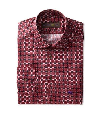 Etro Men's Spread Collar Geometric Pattern Long Sleeve Shirt