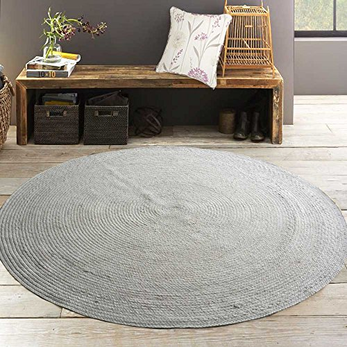 Avioni Cotton Braided Area Rug 5 feet round, Handmade by Skilled Artisans, 100% Natural ecofriendly cotton yarns, Reversible for double the wear, Rug pad recommended
