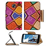 Motorola Google Nexus 6 Flip Pu Leather Wallet Case Colorful multicolored geometric abstract digital photo collage technique pattern IMAGE 36334374 by MSD Customized Premium