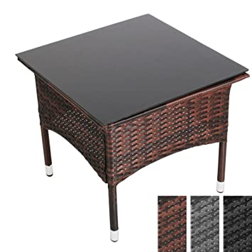 miadomodo table table basse de jardin terrasse couleur marron marron 50 x 50 x 45 cm. Black Bedroom Furniture Sets. Home Design Ideas