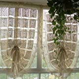 Vintage Hand Crochet Off White Adjustable Pull up Shade/curtain