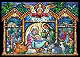 Stained Glass Nativity Religious Christmas Cards - Box of 15