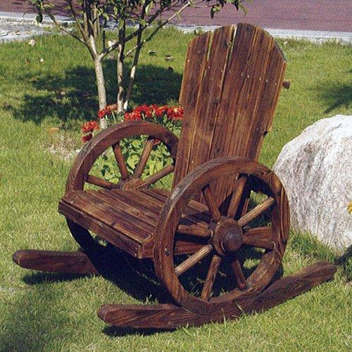 CARTWHEEL - Solid Wood Garden Rocking Chair - Burntwood