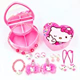 ?Hello Kitty Gifts? Pink Jewelry Box with 10 Pieces Hello Kitty Necklace Bracelet and Hair Accessories for Toddlers, Little Girls | Hello Kitty Gift Set Baby Girl (Color: Multi, Tamaño: NM)