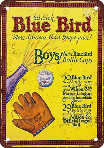 1933 Blue Bird Grape Juice and Baseball Vintage Look Reproduction Metal Signs 12X16 Inches (Grape Soda Sign compare prices)