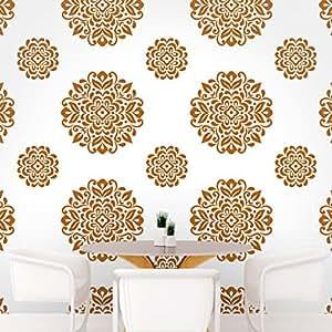 DeStudio Floral Circle Tile Chalkboard Wall Decal, Size LARGE & Color : BROWN