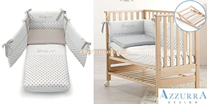 Lettino Azzurra Design Contact Naturale rete antirigurgito + Set tessile Tortora