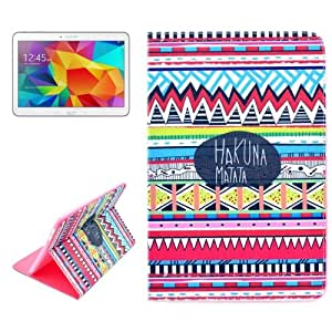 Crazy4Gadget HAKUNA MATATA Pattern Horizontal Flip Leather Case with Holder for Samsung Galaxy Tab 4 10.1 / T530