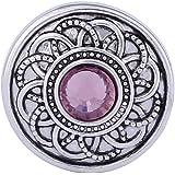 Morella Damen Click-Button Druckknopf Blumen Ornament mit rosa Zirkoniastein