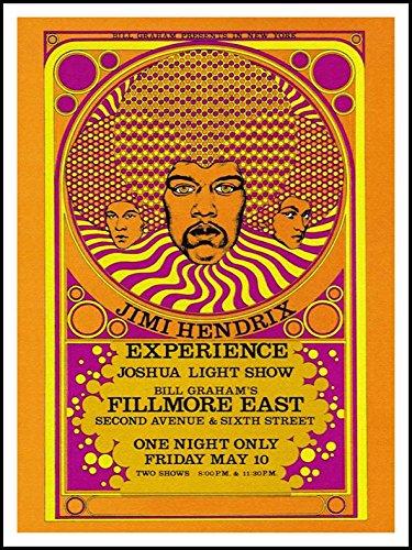 Imagenation Jimi Hendrix 'esperienza at Fillmore East', 60x 80cm Stampa su removibile adesivo carta da parati poster