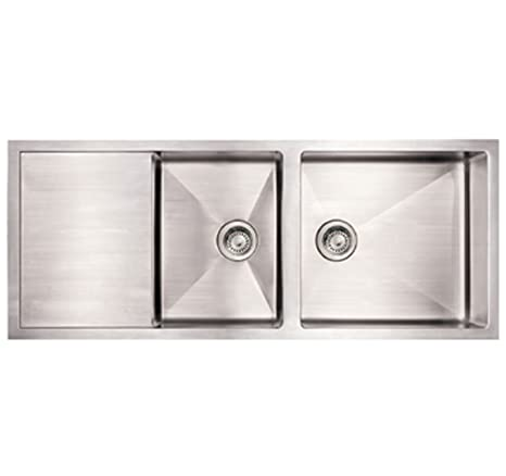 Whitehaus WHNCMD5221-BSS Noah'S Collection 52-Inch Commercial Single Bowl Reversible Under Mount Sink with an Integral Drain Board, Brushed Stainless Steel