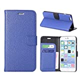Kingsource (TM) iPhone 6 Plus Case, [Stand Feature] iPhone 6 Plus (5.5) Case Wallet [Wallet S] Premium Wallet Case STAND Flip Cover for iPhone 6 Plus (5.5) (2014)- iPhone 6 Plus Litchi grain design case cover -with 1 Screen Protector, 1 Stylus and 1 Microfiber Sticker Digital Cleaner (Litchi grain blue)