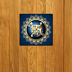 999Store doorhanging swastik golden printed wooden framed door sticker (4 x 4 inches)