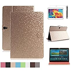 Samsung Galaxy Tab 4 10.1 Case, DINGRICH Slim Fit Auto Sleep Wake Synthetic Leather Smart Flip Cover with Stand Book Sleeve Folding Folio Case for Samsung Galaxy Tab 4 10.1 inch SM T530 T531 (Gold)