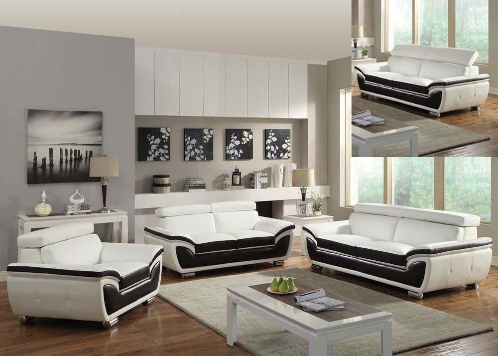 Acme 50145 Olina Contemporary White/Coffee Bonded Leather Match Sofa Set