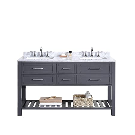 "Ove Pasadenas-60 Vanity with Carrera Marble Countertop and Two 20"" Rectangular Undermount Basins, 60"", Dark Charcoal"