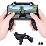 Mobile Game Controller Upgrade Version, Qoosea Sensitive Shoot and Aim Trigger Keys L1R1 Gaming Grip Gamepad Joysticks Phone Holder Compatible with iPhone & Android for PUBG/Knives Out (Color: W10 Mobile Gamepad)
