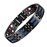LiFashion LF Mens Pure Titanium Bio Magnetic Therapy Bracelet 4 in 1 Blue Carbon Fiber Inlay Pain Relief Energy Healing Benefits Link Bracelets Black for Dad Husband Boyfriend Gift,Free Removal Tool (Color: Black)
