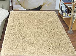 Ottomanson New Shag Collection Rectangle Shape Solid Shag Rug, 5\'W x 7\'L, Light Beige