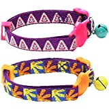 Blueberry Pet 1 Pack Designer Breakaway Cat Collar with Bell in Pyramid Shape on Purple Background
