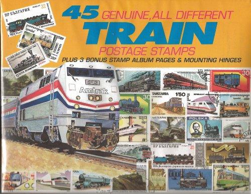 45 Genuine Postage Stamps Assortment - Trains