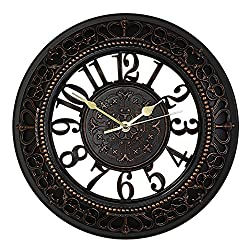 Color Map 12 Inch Silent Wall Clocks European-style Vintage Retro Antique Royal Style Resin Wall Clock, Creative Home Living Room Boutique Hotel Mute Wall Clock (black)
