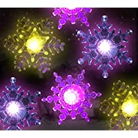 Snowflake Coloring Changing Led Lights -- Snowflakes with Suction Cups Attached to Back for Hanging in a Window Christmas and Holiday Decorating Battery Operated