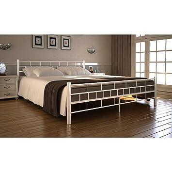 Anself Metallbett Bett Doppelbett Bettgestell Gästebett mit 200 x 180 cm Matratze Weiß