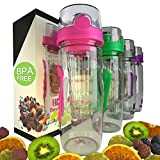 Bevgo Fruit Infuser Water Bottle - Large 32oz - Intergrated Timeline on all Bottles - Save Your Money and Hydrate the Healthy Way - Multiple Colors with Recipe Book Gift Included