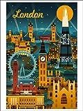 London, England - Retro Skyline (9x12 Art Print, Wall Decor Travel Poster)