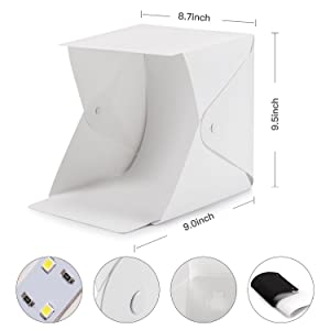Depthlan Folding Photo Studio Kit Box with LED Light for Photographing Shooting Tent for Small Size Itemsv