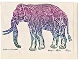 Rare Unique Vintage Asian Oriental Thai Traditional Art Mulberry Paper Values Handmade Postcards To Colour Design Abstract Elephant By Thailand