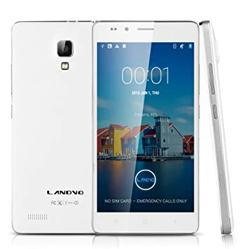 LANDVO L500 3G Smartphone 5,0 Pouce IPS HD Ecran 8Go ROM Octa Core MTK6592 Android 4.4 Kitkat Dual SIM 8MP et 2MP caméra soutenir WIFI GPS Bluetooth fonction compatible orange SFR Bouygues Virgin Free Dommel Mobistar Proximus etc(Blanc)+ 8Go Excelv