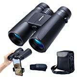 konpcoiu 12x42 Roof Prism Binoculars for Adults, Portable and Waterproof Compact Binoculars with Low Light Night Vision,BAK4 Prism FMC Lens HD Clear V