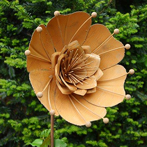 Gartenstecker seerose metallbume bl te metall rost for Gartenaccessoires rost