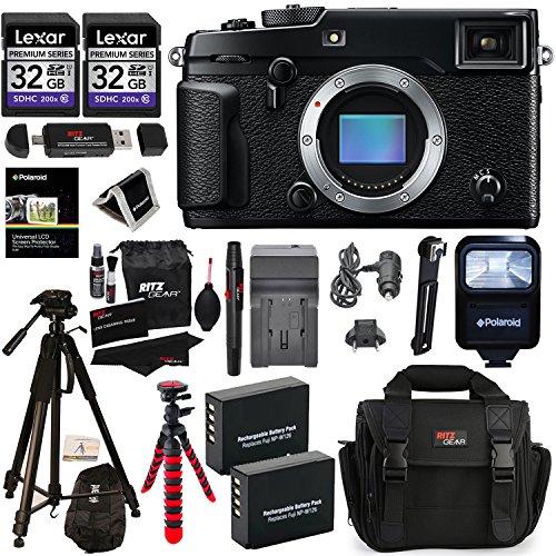 Fujifilm X-Pro2 Body Professional Mirrorless Camera + Lexar 32GB 2 Pack + Ritz Gear Camera Case + Polaroid 72