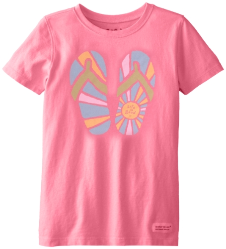 Life Is Good Girl'S Crusher Sunshine Flip Flop T-Shirt, Hibiscus Pink, Medium front-615991