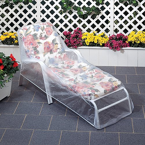 Set of 2 outdoor vinyl clear lounge chaise chair furniture for Chaise covers outdoor furniture