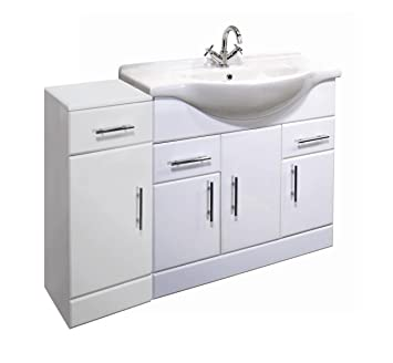 1000mm High Gloss White Bathroom Furniture Set - Vanity Basin Cabinet Unit & Cupboard Drawer