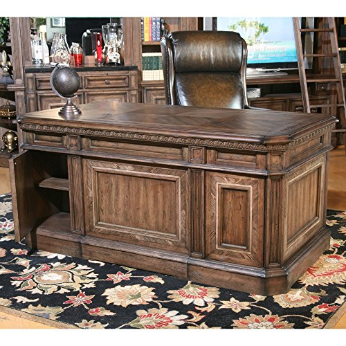 Parker House Aria Library Double Pedestal Executive Desk - Antique Vintage Smoked Pecan