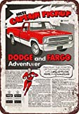 1972 Dodge and Fargo Adventurer Pickup Vintage Look Reproduction Metal Tin Sign 12X18 Inches