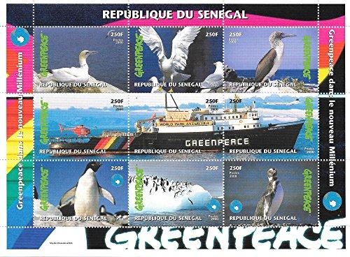 stamps-for-collectors-greenpeace-birds-and-penguins-mnh-souvenir-sheet-senegal-2000