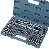 Hi-Spec 39 Piece Tap and Die Set Machinist Standard Tapered, Plug Hand Tapping, Cutting, Threading, Forming, and Chasing Thread Kit with SAE, Metric Measurements for Garage, Workshop, Mechanics Use (Color: 39 piece Tap & Die Set)