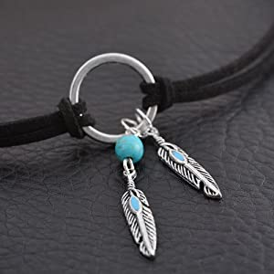 MJartoria Native American Bohemian Feather Charm Handmade PU Leather Choker Necklace Black (Color: Black, Tamaño: about 14 inches)