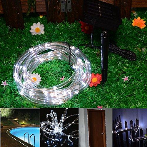 Xiqi Solar Christmas Festival Celebration Led Rope Tube Light 100 Led String Garden Light Inside/Outside 39 Feet 12M Long Total Length (White)